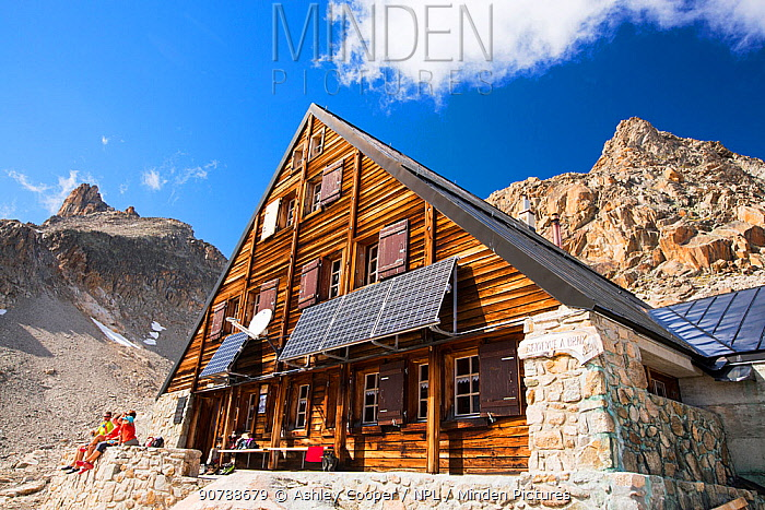 Solar panels on the Cabanne D' Orny in the Swiss Alps, providing electricity for this off grid mountain hut at over 10,000 feet. Switzerland, August 2014