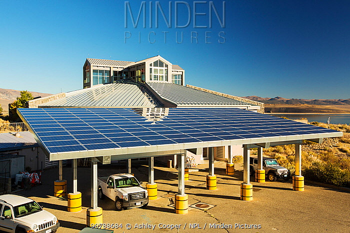 Solar panels on the Mono Lake visitor centre in Lee Vining, California, USA. October 2014