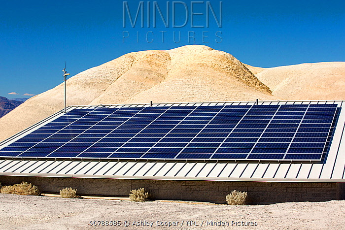 Solar panels amongst Badland scenery in Death Valley which is the lowest, hottest, driest place in the USA, with an average annual rainfall of around 2 inches, some years it does not receive any rain at all. October 2014