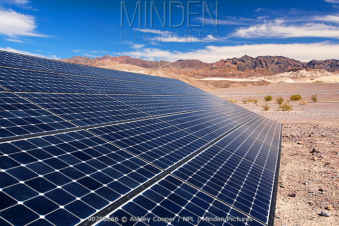 Solar panels at the Furnace Creek Visitor Centre in Death Valley. Death Valley is the lowest, hottest, driest place in the USA, with an average annual rainfall of around 2 inches, some years it does not receive any rain at all. October 2014