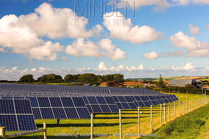 A farm based solar plant near wadebridge, Cornwall, UK,. August 2015