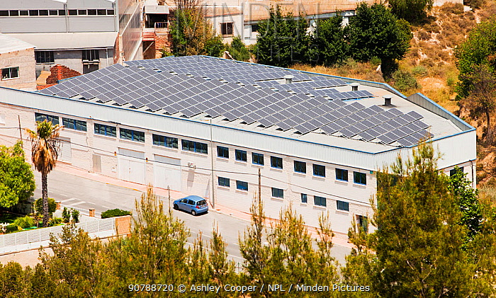 Photovoltaic panels on a roof in Sax, Mercia, Spain. May 2011