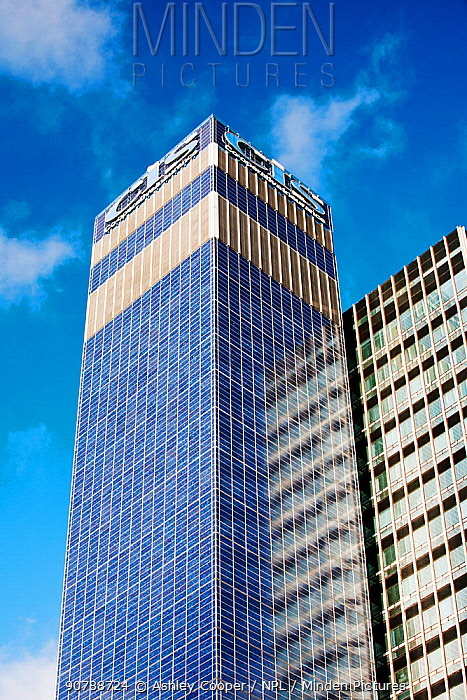The Cooperative CIS Tower in manchester, UK. The tower has been covered in 7000 Solar panels and generates enough green electricity to power 55 homes, or 180, 000 Kw hours per year. November 2011