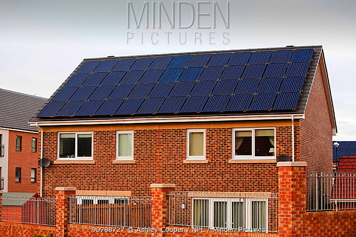 Hutton Rise housing development in Sunderland, UK.  All of the houses have either solar thermal water heating or solar electric panels, some have both. December 2011