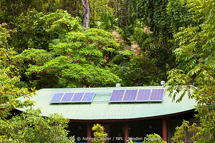 Toilet block with solar panels on the roof in the Daintree rainforest, North of Queensland, Australia, February 2010