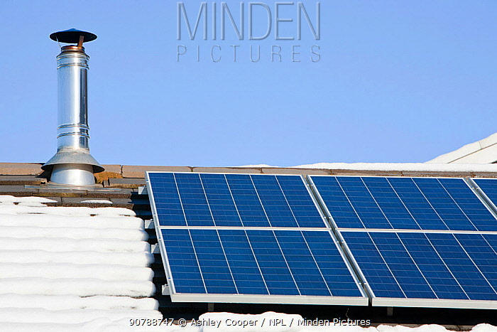 Solar panels on a house roof in Ambleside in the snow, Lake District, UK. February 2012