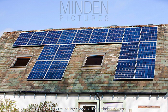 Solar panels n the Quaker Meeting House in keswick, Lake District, UK. March 2012