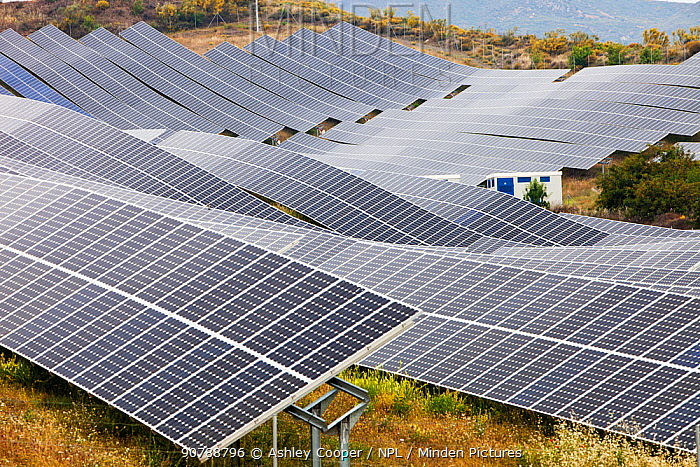 A photo voltaic solar power station near Lucainena de las Torres, Andalucia, Spain. May 2011