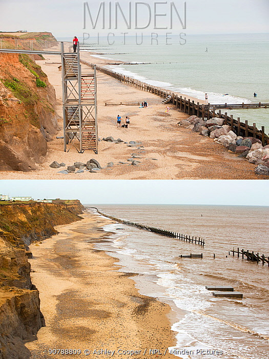 Composite shot showing coastal erosion at Happisburgh, Norfolk, UK. The first shot taken in 2010 shows the steps leading to the beach, the second shot taken in 2015 shows the two concrete blocks that were the foundations for the steps, and is all that is left, after rapid coastal erosion.