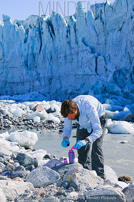 Scientist using dye tracing techniques as part of a study to measure the speed of the Russell Glacier near Kangerlussuag Greenland. July 2008