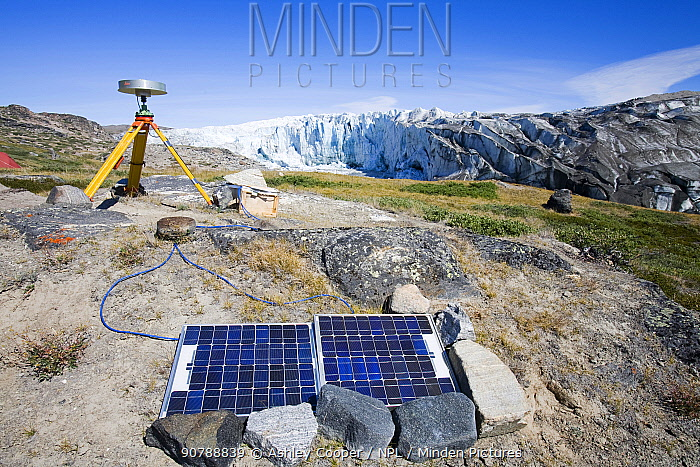 Scientist using GPS equipment measuring the speed of the Russelll Glacier near Kangerlussuag, Greenland, July 2008