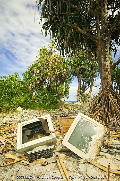 Computer parts discarded on Funafuti atol Tuvalu. March 2007