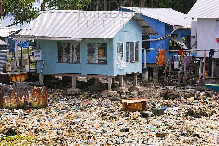 Plastic rubbish discarded in a lagoon on Funafuti Tuvalu. March 2007