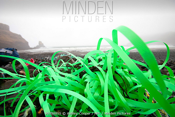 Plastic debris washed ashore from the sea at Talisker Bay on the Isle of Skye, Scotland, UK. February 2012