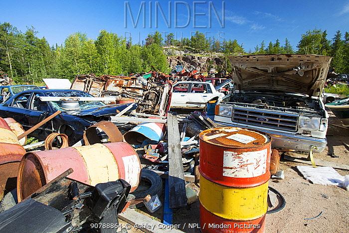 A scrap metal dump in Fort Chipewyan, Alberta, Canada. August 2012