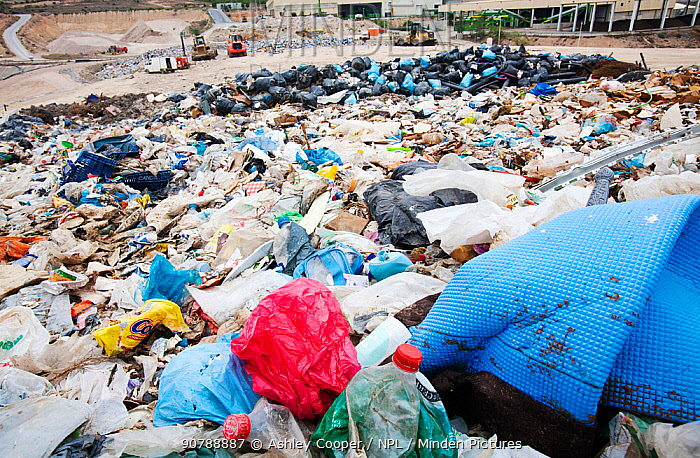 Rubbish on a landfill site in Alicante, Costa Blanca, Murcia, Spain. The site captures bio methane from rotting organic waste.  May 2011