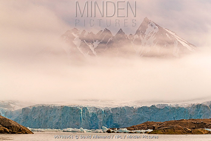 Coastal landscape of mountains in Svalbard, Norway.