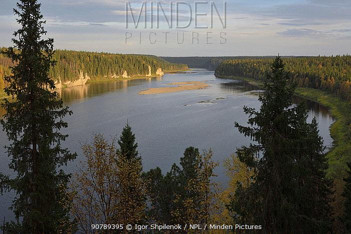 Schugor River, Yugyd Va Nature Reserve, Virgin Forests of Komi UNESCO World Heritage Site, Ural Mountains of Russia, September 2016