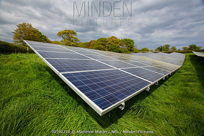 Liverton's solar park covers 10 hectares of low-grade agricultural land near Exmouth and can provide energy for more than 1,000 homes. Devon, England, UK, May 2017.