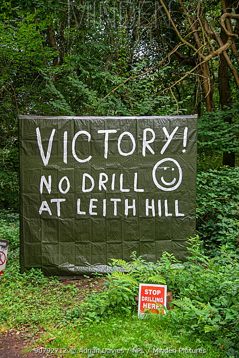 Anti-fracking sign, Leith Hill, Surrey, England, UK, September 2018.