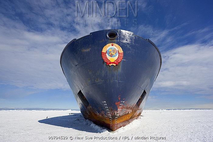 Wide angle shot of bow of Russian icebreaker Kapitan Khlebnikov in sea ice, Cape Washington, Ross Sea, Antarctica.