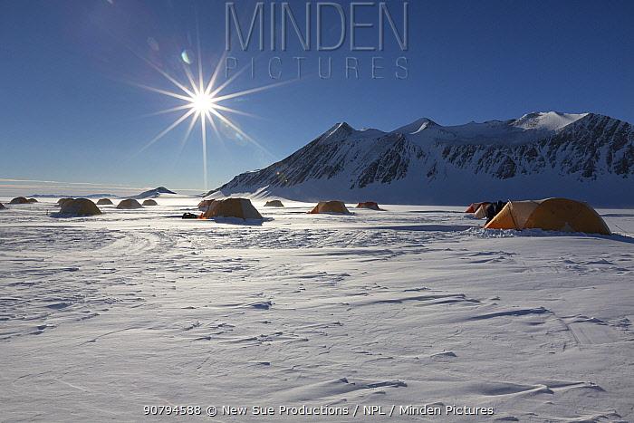 Union Glacier camp, view of staff tents, Antarctica.