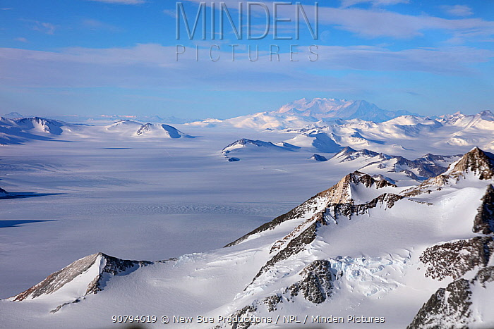 Aerial view of Transantarctic  mountains, taken en route  from the South Pole to Union Glacier.  Mount Vinson, the highest mountain in the Antarctic in background.