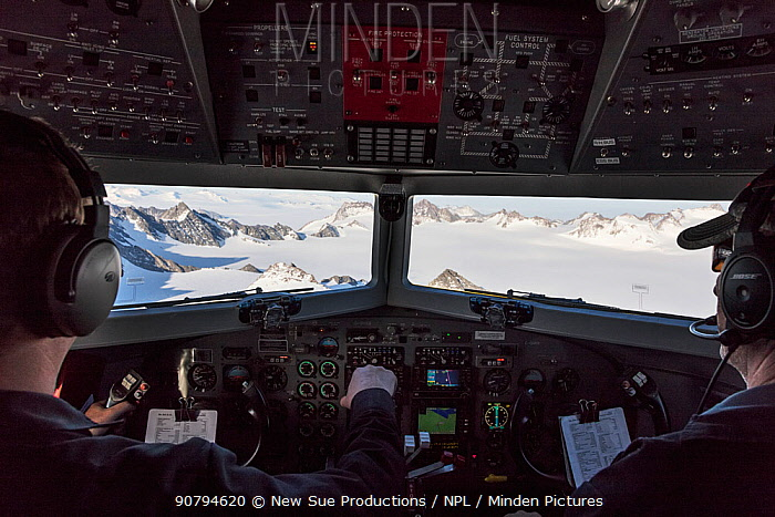 View from cockpit of Transantarctic  mountains taken en route  from the South Pole to Union Glacier.  Mount Vinson, the highest mountain in the Antarctic in background.