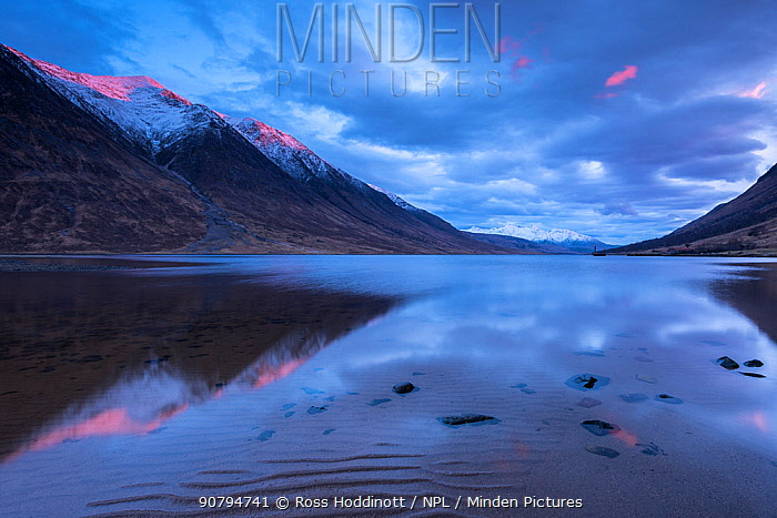 Loch Etive, late evening reflections, sea loch in Argyll and Bute, Scotland, UK. March 2017.