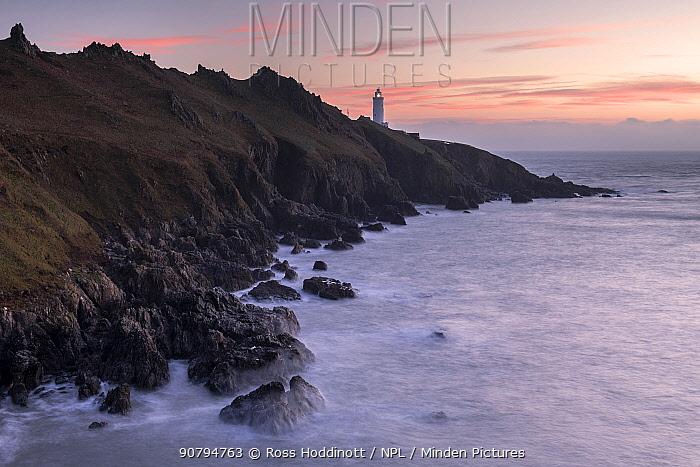 Start Point peninsula and Lighthouse at sunrise, South Devon, England. January 2018