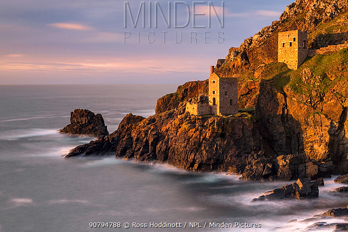 The Crowns Engine House in late evening light at hight tide Botallack,  Poldark Country, West Cornwall, UK. October 2017.
