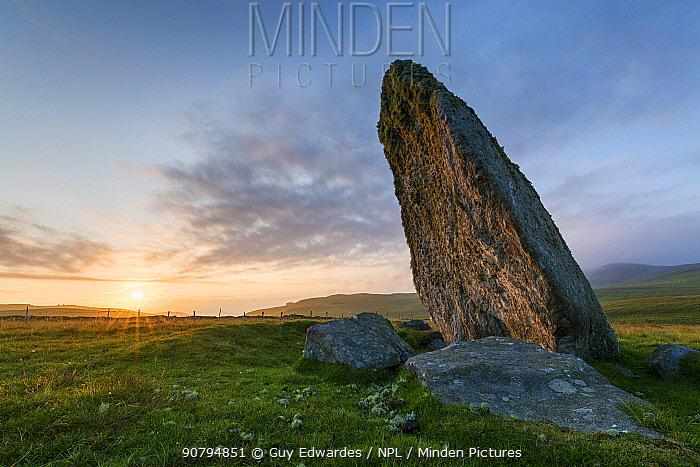 Borastubble standing stone, Shetland, Shetland Islands, Scotland, UK. August, 2014.