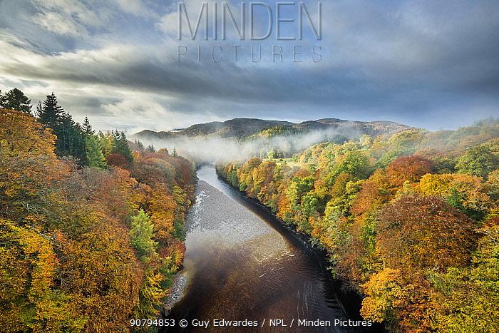 River Garry and Pass of Killiecrankie from Garry Bridge, Perthshire, Scotland, UK. October, 2013.
