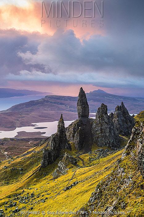 Old Man of Storr, Trotternish Peninsula, Isle of Skye, Inner Hebrides, Scotland, UK. January 2014.