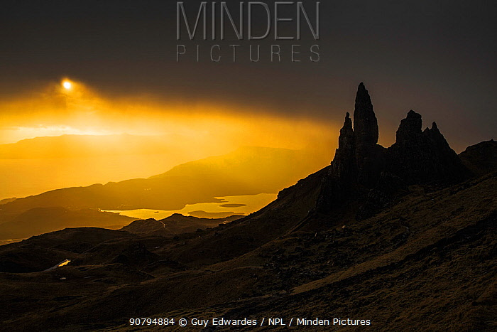 Old Man of Storr, Trotternish Peninsula, Isle of Skye, Inner Hebrides, Scotland, UK. January 2014.