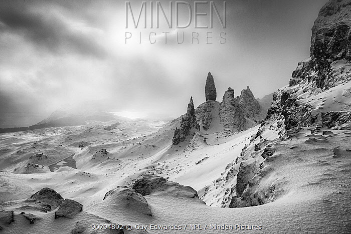 The Old Man of Storr in winter, Trotternish Peninsula, Isle of Skye, Inner Hebride, Scotland, UK. January 2015.