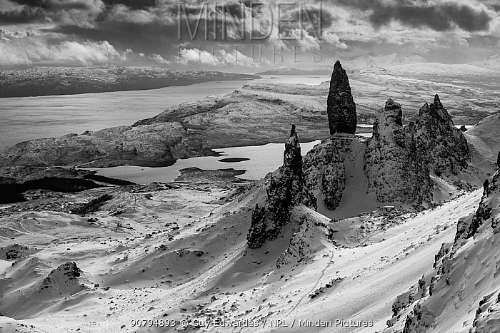 The Old Man of Storr in winter, Trotternish Peninsula, Isle of Skye, Inner Hebride, Scotland, UK. January 2015.