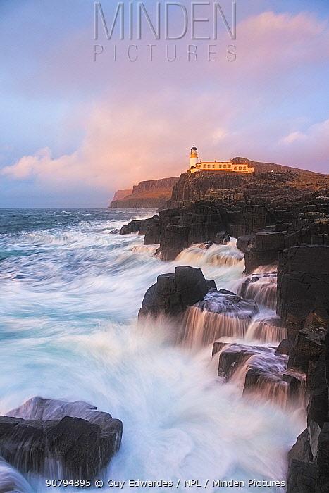 Neist Point Lighthouse, Duirinish Peninsula, Isle of Skye, Inner Hebrides, Scotland, UK. January 2014.