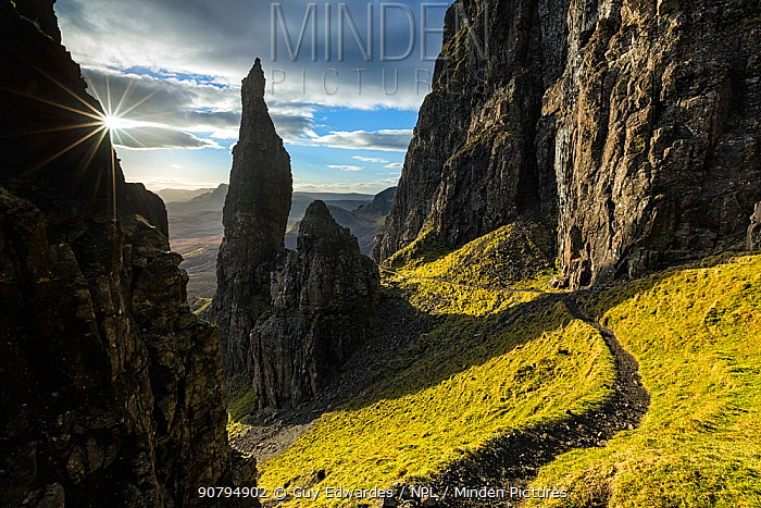 Footpath past The Needle, Quiraing, Trotternish Peninsula, Isle of Skye, Inner Hebrides, Scotland, UK. January 2014.