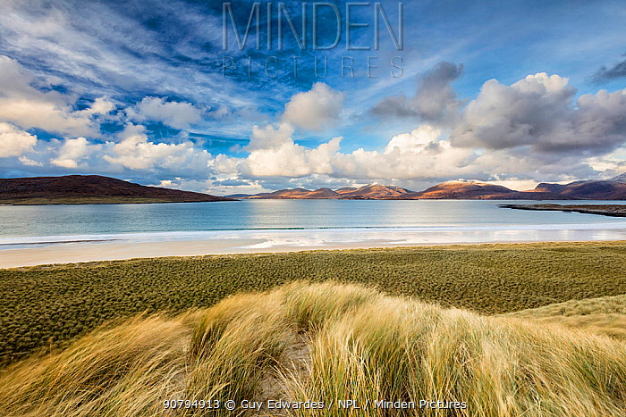 Sand dunes at Luskentyre with view to Taransay. Isle of Harris, Outer Hebrides, Scotland, UK. November 2016.