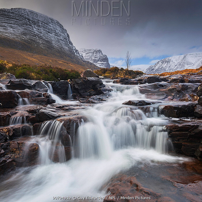 Waterfall on Russel Burn, Applecross, Highlands, Scotland, UK. February 2016.
