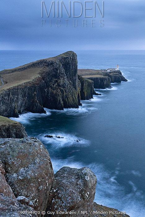 Neist Point Lighthouse and the Duirinish Peninsula, Isle of Skye, Inner Hebrides, Scotland, UK. February 2012.