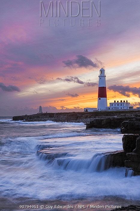 Portland Bill Lighthouse at sunset, Isle of Portland, Dorset, England, UK. November 2009.