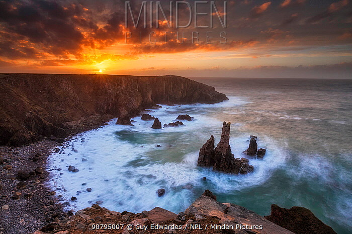 Sea stacks at sunset, Mangurstadh beach, Aird Feinis, Isle of Lewis, Outer Hebrides, Scotland, UK. March 2014.