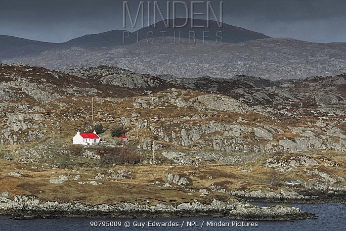 Remote croft, Geocrab, Isle of Harris, Outer Hebrides, Scotland, UK. March 2014.