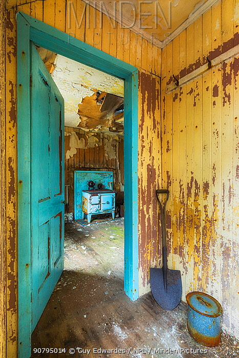 Doorway in abandoned cottage, Isle of Harris, Outer Hebrides, Scotland, UK. March 2014.