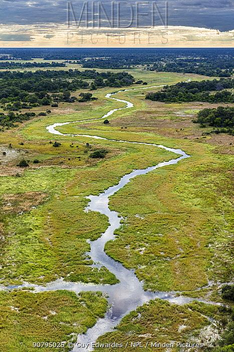 Aerial view of Khwai River, Okavango Delta, Botswana. April 2017.