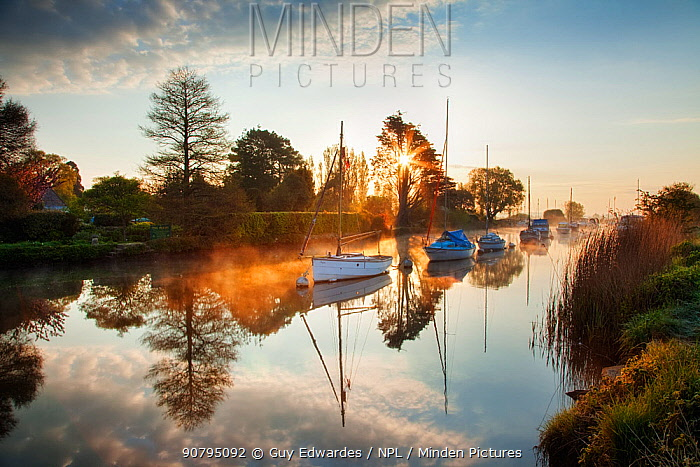 Boats of the River Frome, Wareham, Dorset, England, UK. May 2015.