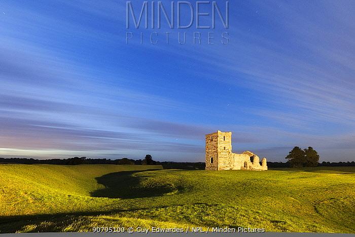 Knowlton Church and neolithic henge earthworks, near Cranborne, Dorset, England, UK. September 2011.