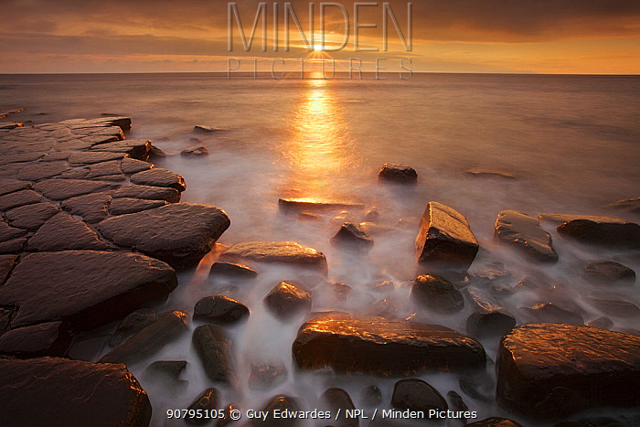 Sunset at Kimmeridge Bay, Isle of Purbeck, Jurassic Coast, Dorset, England, UK. December 2010.